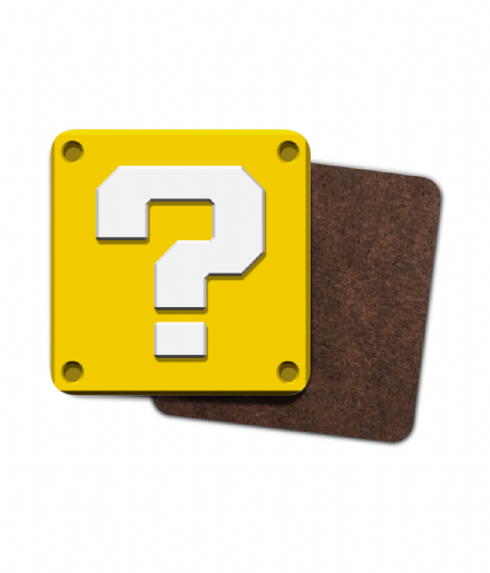 Super Mario Bros Question Block Single Hardboard Coaster